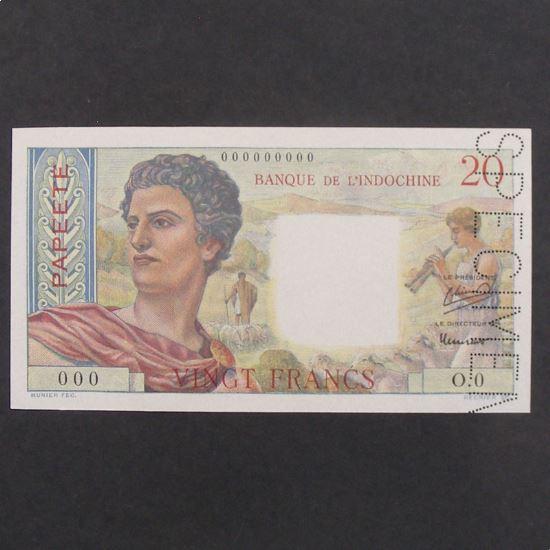 Tahiti Papeete, 20 Francs SPECIMEN ND, UNC
