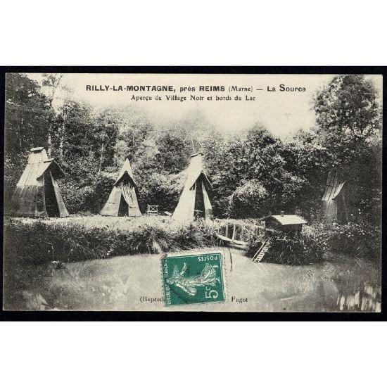 51 - RILLY LA MONTAGNE - prés de Reims (Marne) - La Source - Aperçu du Village Noir et Bords du Lac