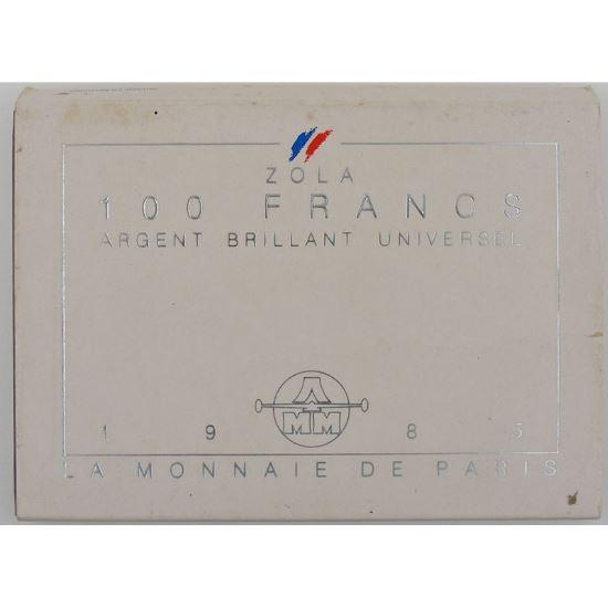 Emile Zola, 100 Francs 1985, BU argent, KM#957