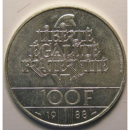 Fraternité, 100 Francs 1988, SUP+, KM# 966