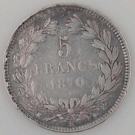France, Cérès, 5 Francs 1870 K, TB+, KM# 818.2