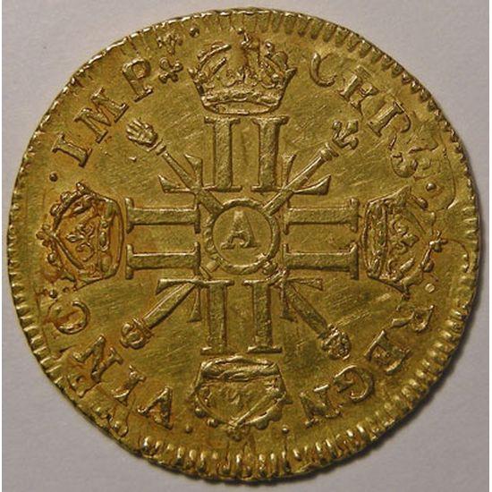 Monnaie royale, Louis XIV, Louis d'or aux 8 L et aux insignes, 1702 A Paris