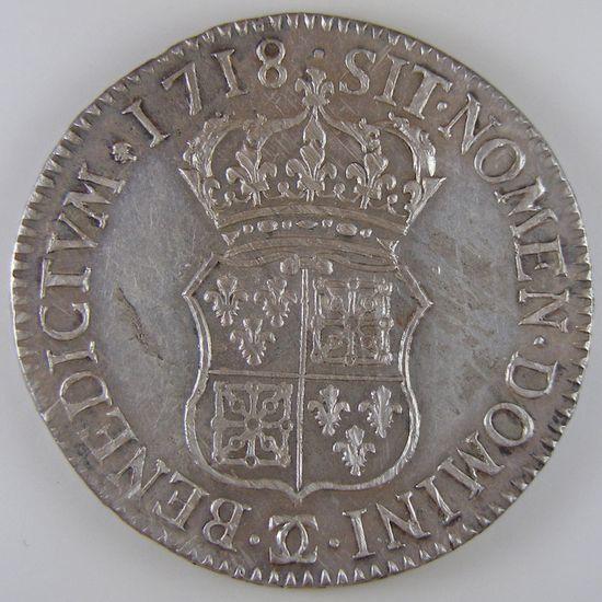 Louis XV, Ecu de France-Navarre 1718 Besançon, Gadoury 318, TTB+/SUP
