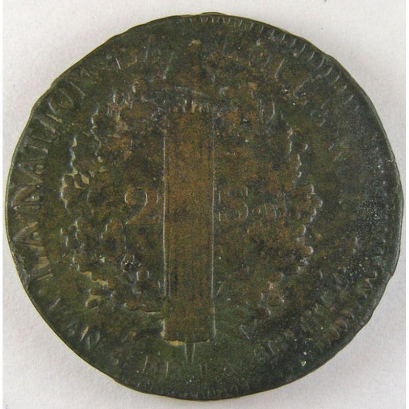 1792 2 sols coin