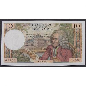 10 Francs Voltaire 2.8.1973 , A.893, SUP+