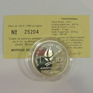 100 Francs 1989 BE, J.O. Patinage Artistique, KM#972