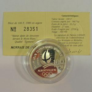 100 Francs 1989 BE, J.O. Ski Alpin, KM#971