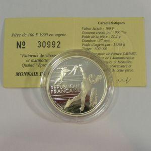 100 Francs 1990 BE, J.O. Patinage de Vitesse, KM#980