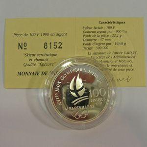 100 Francs 1990 BE, J.O. Ski Acrobatique, KM#983