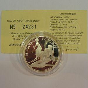 100 Francs 1990 BE, J.O. Slalom Moderne, KM#984