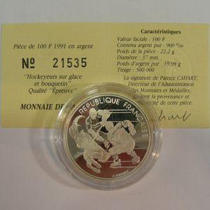 100 Francs 1991 BE, J.O. Hockey sur glace, KM#993