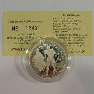 100 Francs 1991 BE, J.O. Ski de fond, KM#994