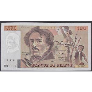 100 Francs Delacroix 1991, D.205, TTB