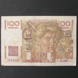 100 Francs Jeune Paysan 4-3-1954 filigrane inversé, TB+