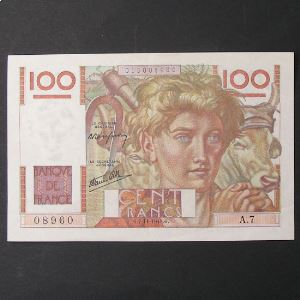 100 Francs Jeune Paysan 7-11-1945 , TTB+