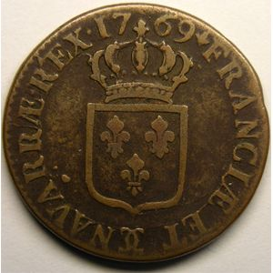 Photo numismatique Monnaies Royales Fran�aises LOUIS XV (1715-1774) Sol � la vieille t�te
