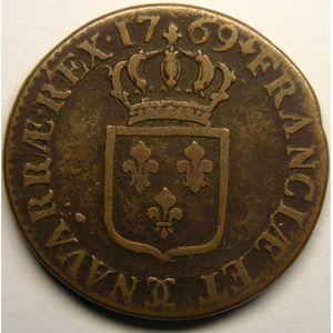 Photo numismatique Monnaies Royales Françaises LOUIS XV (1715-1774) Sol à la vieille tête