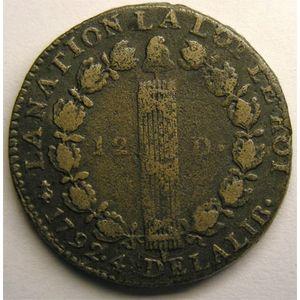 Photo numismatique Monnaies La Révolution 12 Deniers type François (constitution)