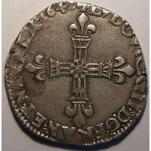 Photo numismatique Monnaies Royales Françaises LOUIS XIII (1610-1643) 1/4 Ecu à la croix fleurdelisée
