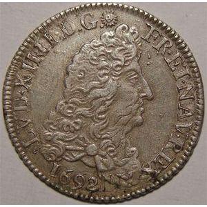 Photo numismatique Monnaies Royales Françaises LOUIS XIV (1643-1715) 1/4 d'écu aux 8 L