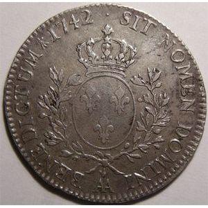 Photo numismatique Monnaies Royales Françaises LOUIS XV (1715-1774) Ecu au bandeau