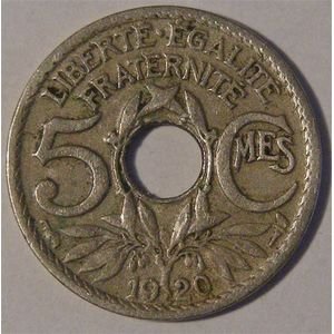 Photo numismatique Monnaies Françaises 5 Centimes Gadoury 170. Lindauer petit module