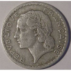 Photo numismatique Monnaies Françaises 5 Francs Gadoury 766. Lavrillier en Aluminium