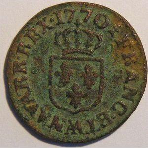 Photo numismatique Monnaies Royales Françaises LOUIS XV (1715-1774) Liard à la vieille tête