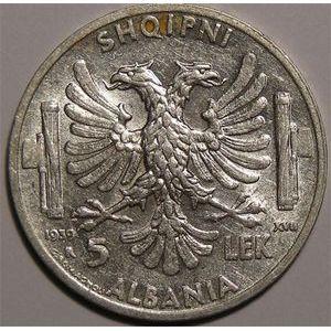 Photo numismatique Monnaies Etrangères Albanie 5 Leke
