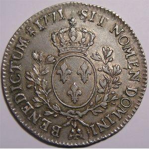 Photo numismatique Monnaies Royales Françaises LOUIS XV (1715-1774) Ecu à la vieille tête