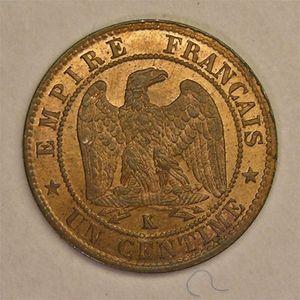 Photo numismatique Monnaies Françaises 1 Centime Gadoury 86. Napoléon III, tête nue