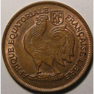 Photo numismatique Monnaies Etrangères Afrique Equatoriale Française Libre 1 Franc
