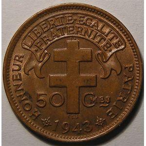 Photo numismatique Monnaies Etrangères Afrique Equatoriale Française Libre 50 Centimes