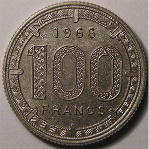 Photo numismatique Monnaies Etrang�res Afrique Equatoriale 100 Francs