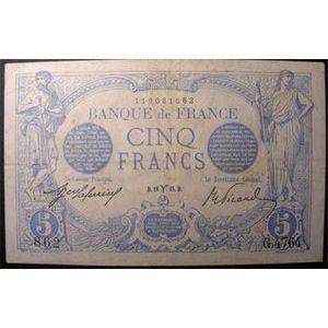 Photo numismatique Billets Billets France 5 Francs Bleu