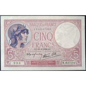 Photo numismatique Billets Billets France 5 Francs Violet