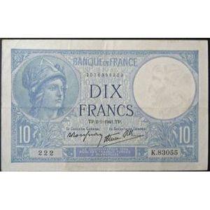 Photo numismatique Billets Billets France 10 Francs Minerve