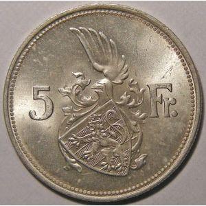 Photo numismatique Monnaies Etrangères Luxembourg 5 Francs