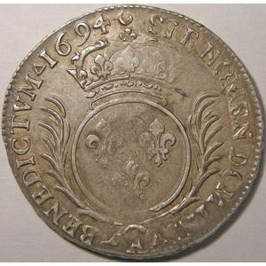 Photo numismatique Monnaies Royales Françaises LOUIS XIV (1643-1715) Ecu aux palmes