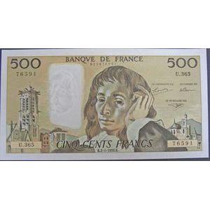 Photo numismatique Billets Billets France 500 Francs Pascal