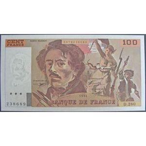 Photo numismatique Billets Billets France 100 Francs Delacroix