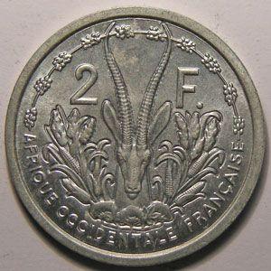 Photo numismatique Monnaies Etrangères Afrique Occidentale Française 2 Francs