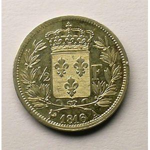 Photo numismatique Monnaies Françaises 1/2 Franc Gadoury 401. Louis XVIII