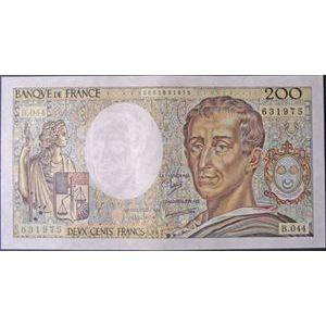 Photo numismatique Billets Billets France 200 Francs Montesquieu