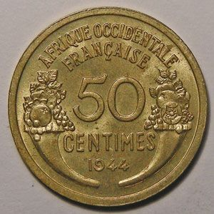 Photo numismatique Monnaies Etrangères Afrique Occidentale Française 50 Centimes