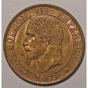 Photo numismatique Monnaies Françaises 5 Centimes Gadoury 155. Napoléon III tête laurée