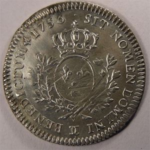 Photo numismatique Monnaies Royales Fran�aises LOUIS XV (1715-1774) 1/5 �me Ecu au bandeau