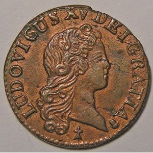 Photo numismatique Monnaies Royales Fran�aises LOUIS XV (1715-1774) Liard au buste enfantin
