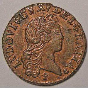 Photo numismatique Monnaies Royales Françaises LOUIS XV (1715-1774) Liard au buste enfantin