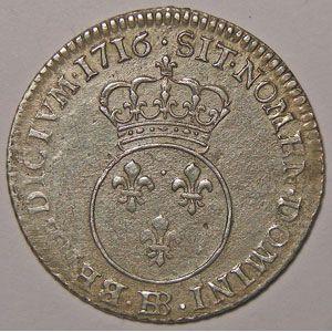 Photo numismatique Monnaies Royales Françaises LOUIS XV (1715-1774) 1/10 écu Vertugadin